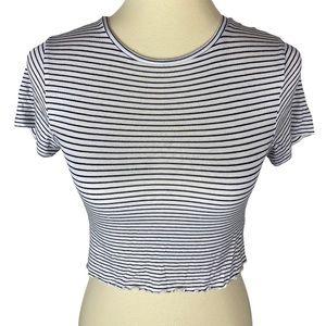 PacSun Basics Striped Blue & White Crop Top